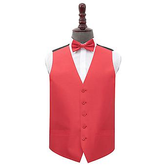 Red Shantung Wedding Waistcoat & Bow Tie Set