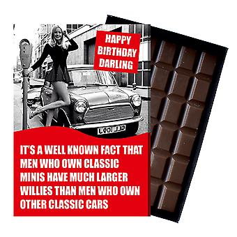 Funny Birthday Gift for Morris Mini Owner Cooper Classic Car Chocolate Greeting Card Present CDL229