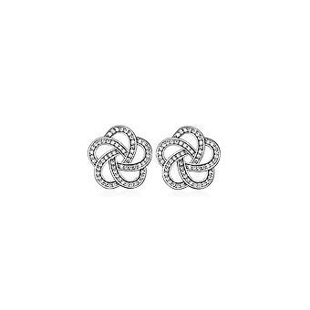 Rhodium-forgyldt blomst og cubic zirconia hvide øreringe