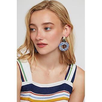 Louche Charity Gold Pear Shape Hoop Earring Blue