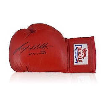 Ricky Hatton ondertekende rode bokshandschoenen
