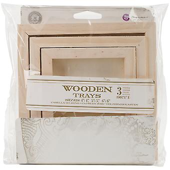Relic & Artifacts Archival Case Wooden Trays 3/Pkg-Set 1 Square; 4