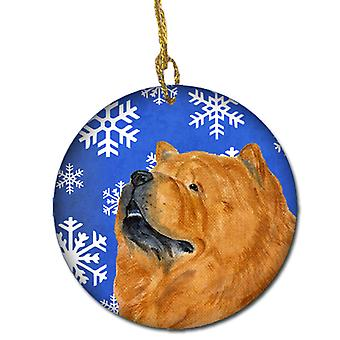 Chow Chow Winter Snowflakes Holiday Christmas Ceramic Ornament SS4640
