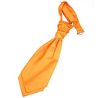 Boy's Fluorescent Orange Plain Satin Scrunchie Wedding Cravat