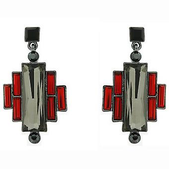 Butler & Wilson Vintage Art Deco Style Short Drop Earrings - Red