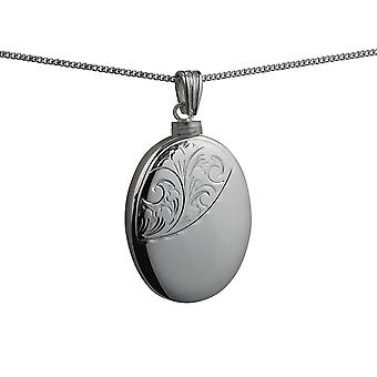 Silver 35x26mm handmade half hand engraved oval Memorial Locket with a curb Chain 24 inches