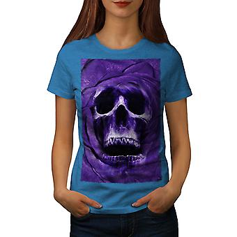 Ghost Metal Badass Skull Women Royal Blue T-shirt | Wellcoda