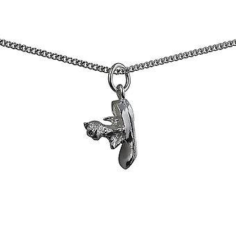 Silver 15x6mm Cat in Shoe Pendant with a curb Chain 24 inches