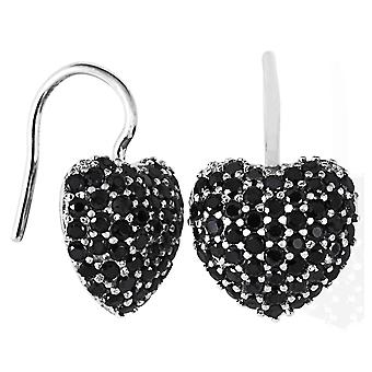 Burgmeister earhooks heart, JHE1032-221, black zirconia, 925 sterling silver rhodanized