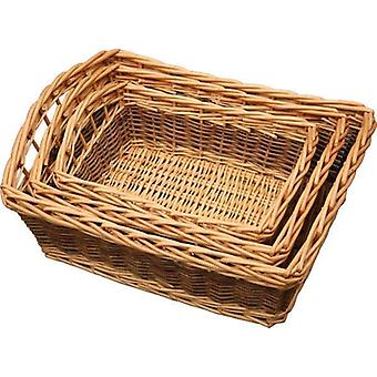 Set of 3 Two Tone Galleon Wicker Trays