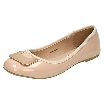 Ladies Spot On Flat Ballerina Shoes F80201
