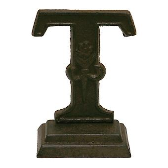 Iron Ornate Standing Monogram Letter T Tabletop Figurine 5 Inches
