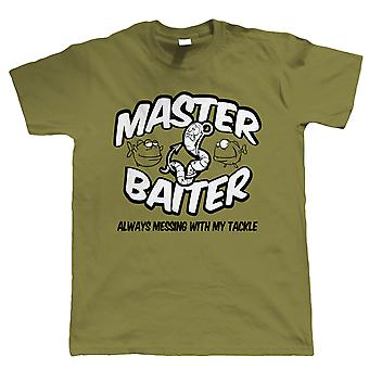 Master Baiter, Mens Funny Fishing T Shirt | Coarse Carp Sea Match Fly Specimen Tackle Fishermen Clothing Angling Angler | Cool Birthday Christmas Gift Present Him Dad Husband Son Grandad