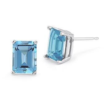 3,40 carat Emerald-Cut Blå Topaz Stud Øreringe, 14K hvidguld