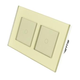 I LumoS Gold Glass Double Frame 2 Gang 2 Way Remote & Dimmer Touch LED Light Switch Gold Insert