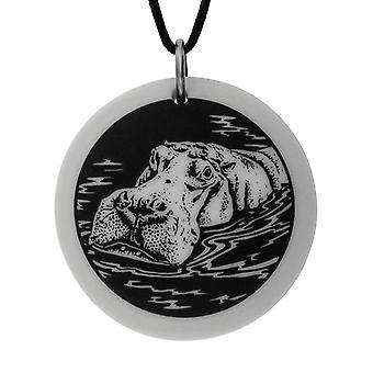 Handmade Hippopotamus Totem Round Shaped Porcelain Pendant