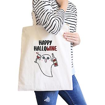 Happy Hallowine Ghost Natural Canvas Tote Bag Funny Wine Lover Gift