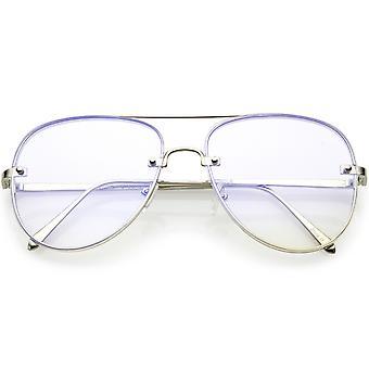 Klassische Pilotenbrille Metall Brillen Crossbar schlanke Arme Teardrop klar flache Objektiv 58mm