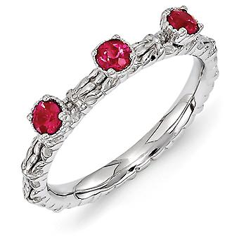 2.5mm Sterling Silver Stackable Expressions Created Ruby Three Stone Ring - Ring Size: 5 to 10