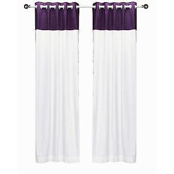 Terciopelo superior Panel de cortina - pieza del anillo de la firma blanco y morado