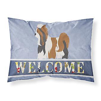 Funda de almohada estándar Biewer Terrier Bienvenido tela