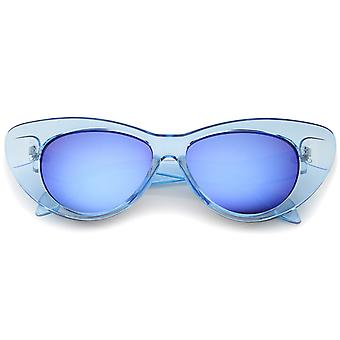 Women's Iridescent Mirror Lens Exaggerated Cat Eye Sunglasses 51mm