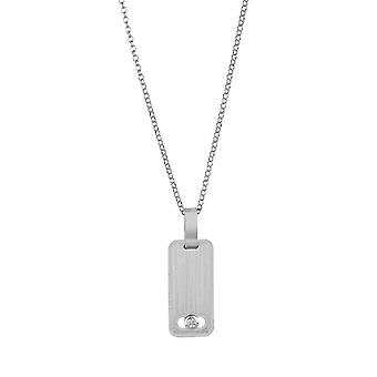 Sterling Silver Womens Fine Necklace with Flat Bar Pendant in Sliding Premium Swarovski White CZ Stone