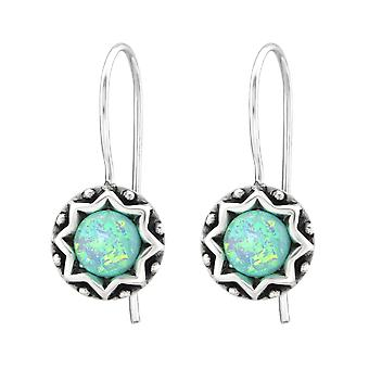 Round - 925 Sterling Silver Opal And Semi Precious Earrings - W31223x