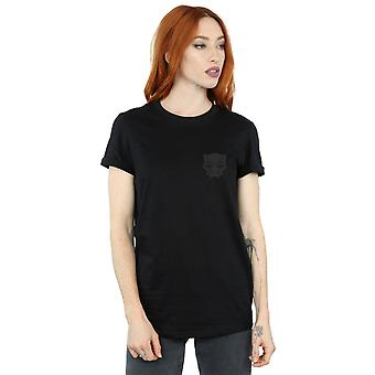 Marvel Women's Black Panther Black On Black Chest Print Boyfriend Fit T-Shirt