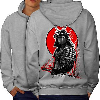 Japanese War Men GreyHoodie Back | Wellcoda