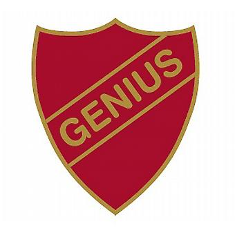 Genius Enamel Shield Badge - Old School Style