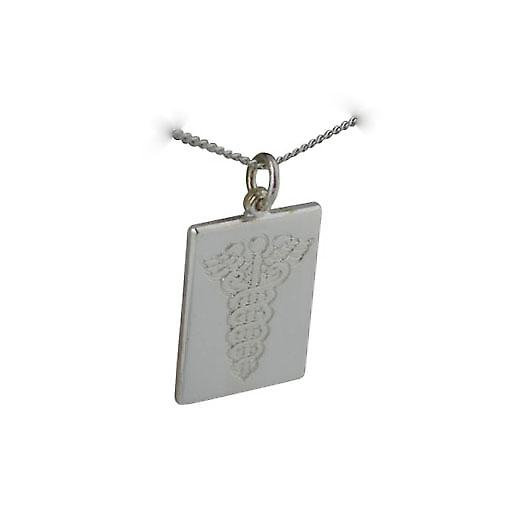 Silver 25x18mm rectangular Medical Symbol Disc with Curb chain