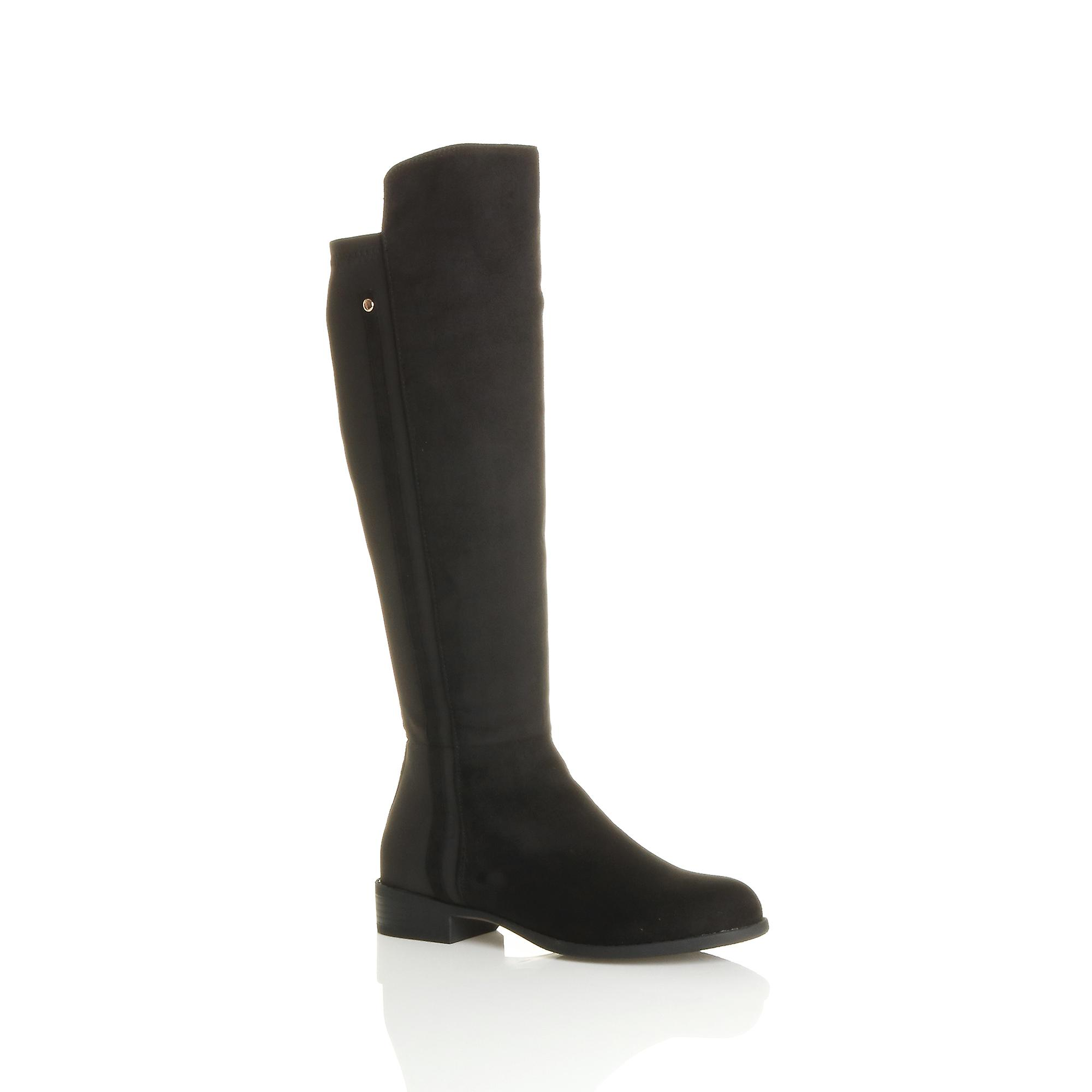 stretch riding contrast low Ajvani calf womens zip boots knee smart heel gZWTUWq