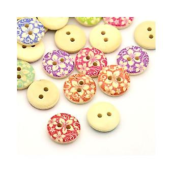 Packet 30 x Mixed/Beige Wood 15mm Round 2-Holed Patterned Sew On Buttons Y00815