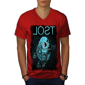 Lost Space Planet Geek Men RedV-Neck T-shirt | Wellcoda