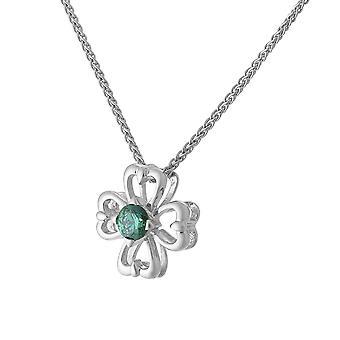 Orphelia Silver 925 Chain With Pendant Flower  Green Zirconium  ZH-7081