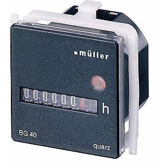 Müller BG4017 funcionamiento horas reloj que contador de rodillos, montaje en Panel, 45 x 45 mm, 7 dígitos, 12-48 Vdc