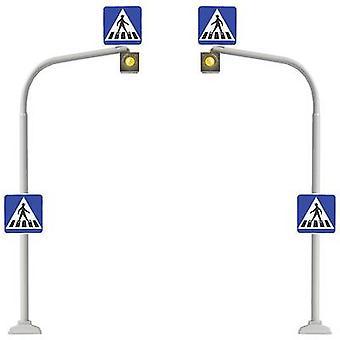 H0 2-piece set Pedestrian crossings + zebra crossing decal Busch 5916 Assembly kit