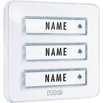 m-e modern-electronics KTA-3 W Bell panel incl. nameplate 3x White 12 V/1 A