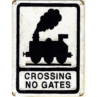 Crossing No Gates Large Metal Sign 400Mm X 300Mm