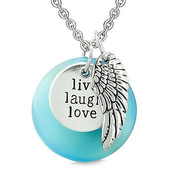 Guardian Angel Wing Live Laugh Love inspirierende magische Amulett himmelblau simuliert Cats Eye Halskette