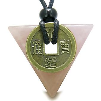 Amulet Triangle Protection Powers Antique Lucky Coin Charm Rose Quartz Arrowhead Pendant Necklace