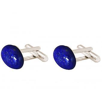 Gemshine - cufflinks - 925 Silver - lapis lazuli - blue - 19 mm x 12 mm