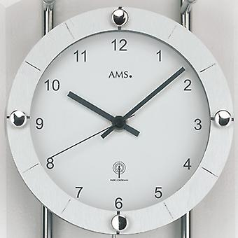Wall clock with pendulum radio mineral glass with silver painted metal rods