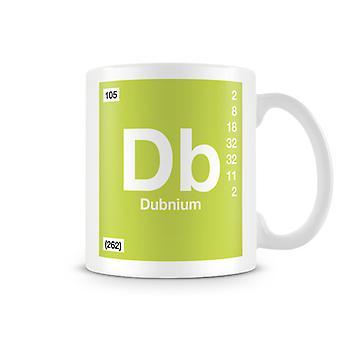 Mug imprimé scientifique, mettant en vedette élément symbole 105 Db - Dubinium