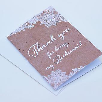 Kraft bruin Lace dank u voor mijn BRUIDSMEISJE één kaart