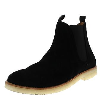Mens H By Hudson Sandgate Suede Black Smart Work Chelsea Ankle Boots