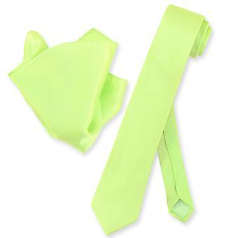 Biagio 100% silke tynne slips Solid Mens hals Tie & lommetørkle