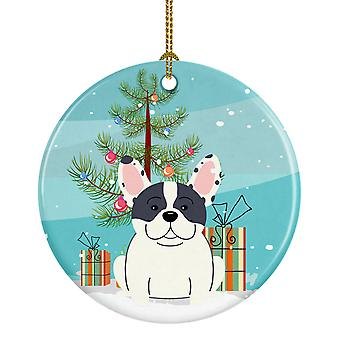 Merry Christmas Tree Franse Bulldog gevlekt keramische Ornament