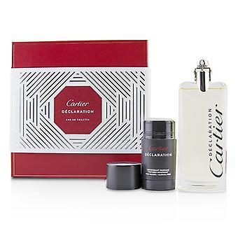 Cartier Declaration Coffret: Eau De Toilette Spray 100ml/3.3oz + Deodorant Stick (Alcohol Free) 75ml/2.5oz 2pcs